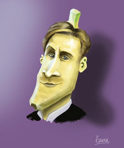 Caricature de Ryan Gosling en banane