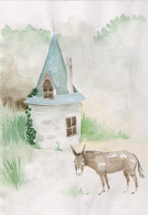 dessin aquarelle d'une petite tour