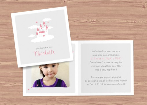 carte d'anniversaire pour petite princesse - fairepartnaissance.fr