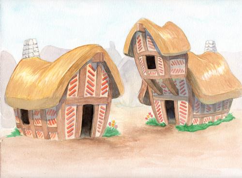 petit village de chaumières avec des toits de paille