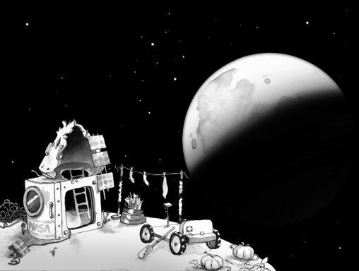 cabane avec résidus de fusée tombées sur une planète